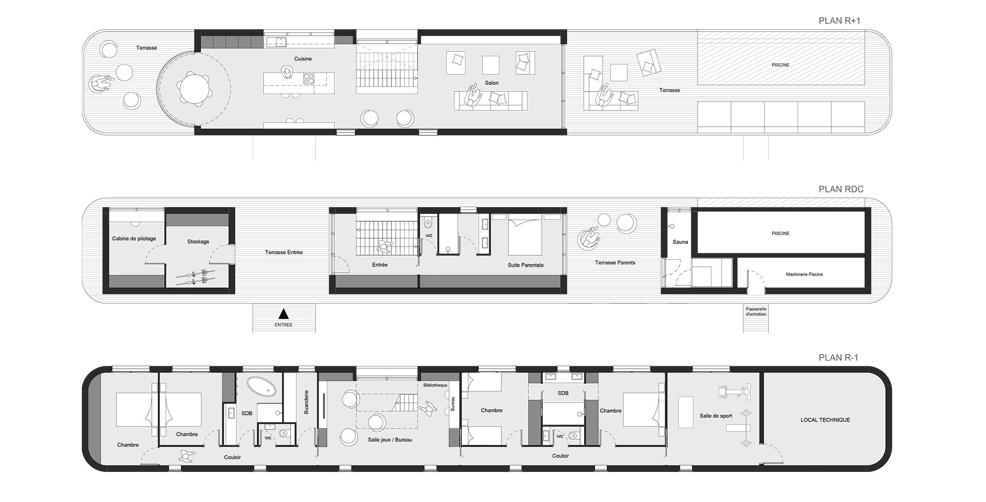 dank architectes meuble entree couloir agr dank architectes plan maison niveaux amou dank. Black Bedroom Furniture Sets. Home Design Ideas
